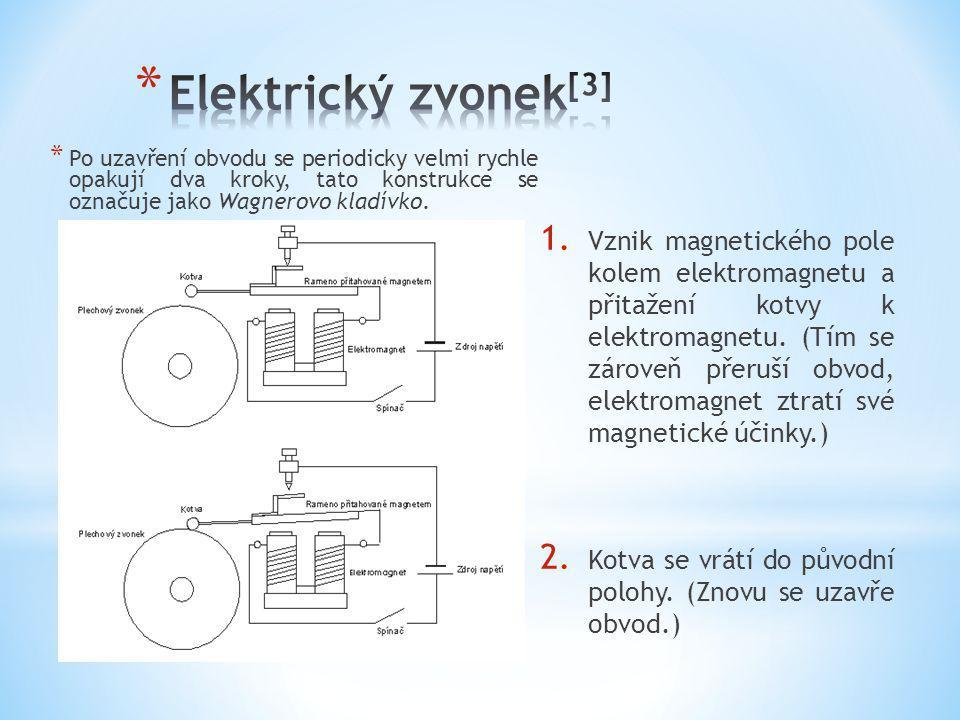 Elektrický zvonek[3] Po uzavření obvodu se periodicky velmi rychle opakují dva kroky, tato konstrukce se označuje jako Wagnerovo kladívko.